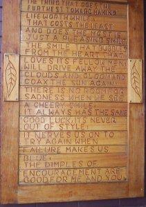 poem on wood plaque