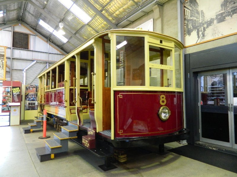 Vintage tram at the Tram Museum in Launceston