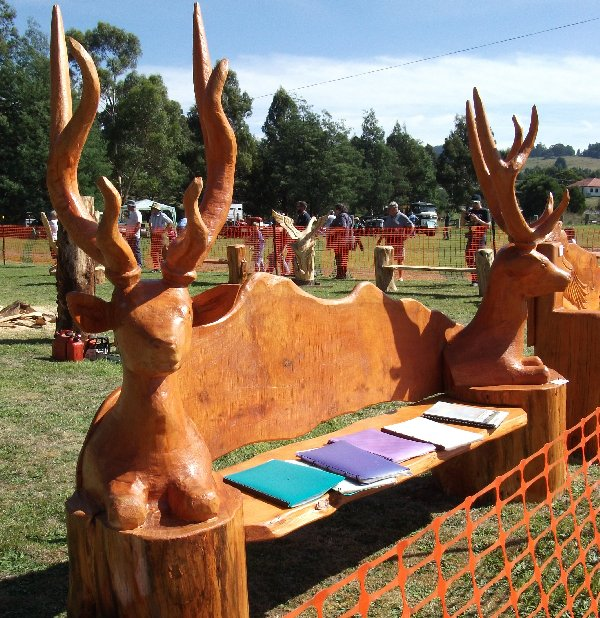 Carved furniture on display at the Forest Festival.