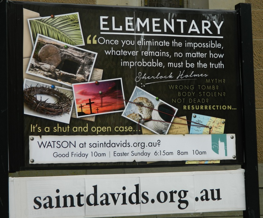 St David's Cathederal, Hobart have had this sign outside since before Easter