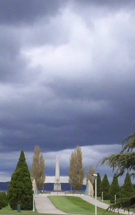 Dark clouds looming over the Cenotaph in Hobart.