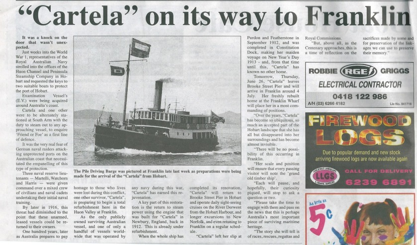 This article appeared in our local paper. The Huon Valley News