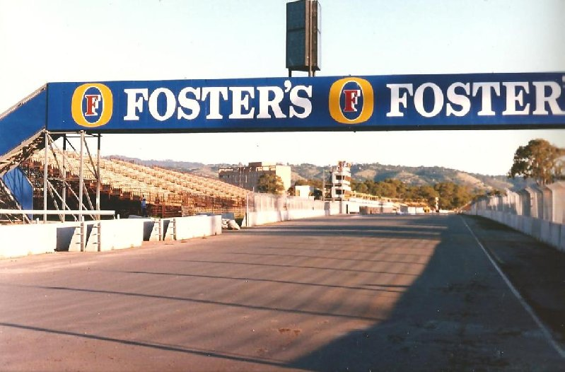 Pit Straight Adelaide c1989. The Start / Finish line was about where the building on the left is.