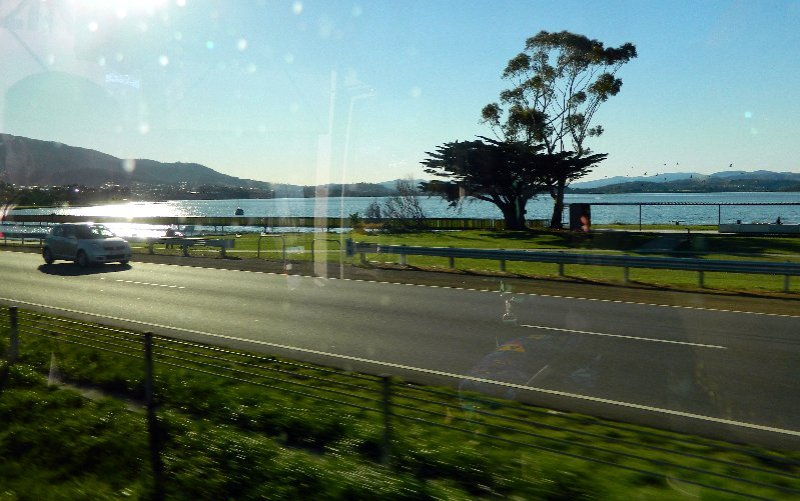 Travelling along the Brooker Highway the main road north out of Hobart.