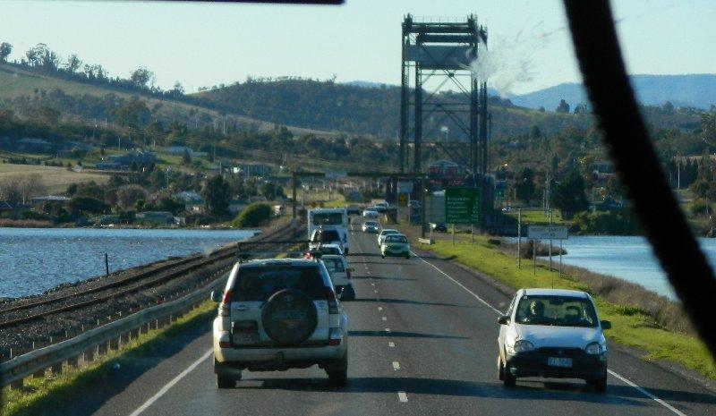 Crossing the Derwent on the Bridgewater bridge.