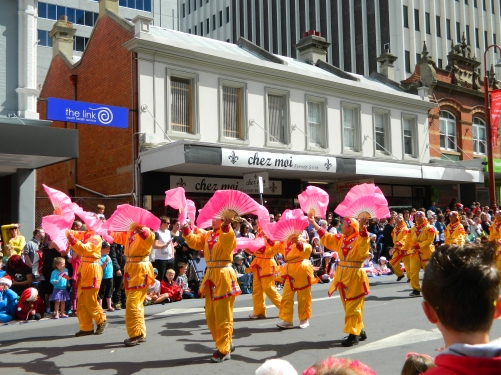 buddhists marching in xmas parade