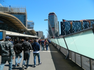 The walkway over Southern Cross Station leading to Etihad Stadium-Melbourne