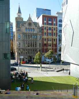Looking towards Collins St from Federation Square - Melbourne