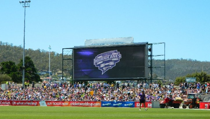 Crowd on the hill at Blundstone Arena