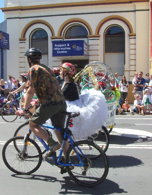 bikes in the Hobart Christmas parade.