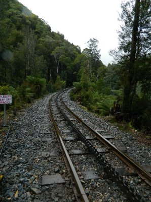 The track with its cogs to assist the trains to climb.