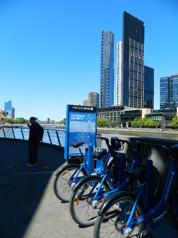 Melbourne has bike rental stations all around the city.