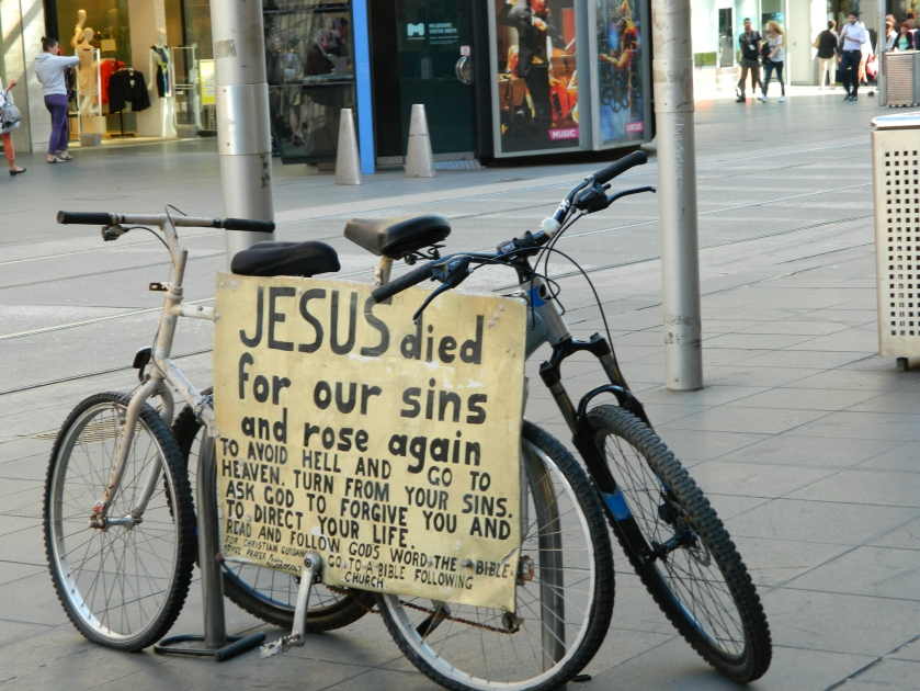 Bikes like this with message attached were dotted around Melbourne during the Jehovah's Witness Convention in October