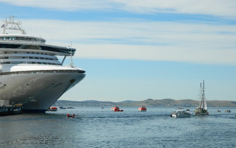 Motor boats from the ship and other small vessels are dwarfed by Diamond Princess. Wooden Boat Festival Hobart.