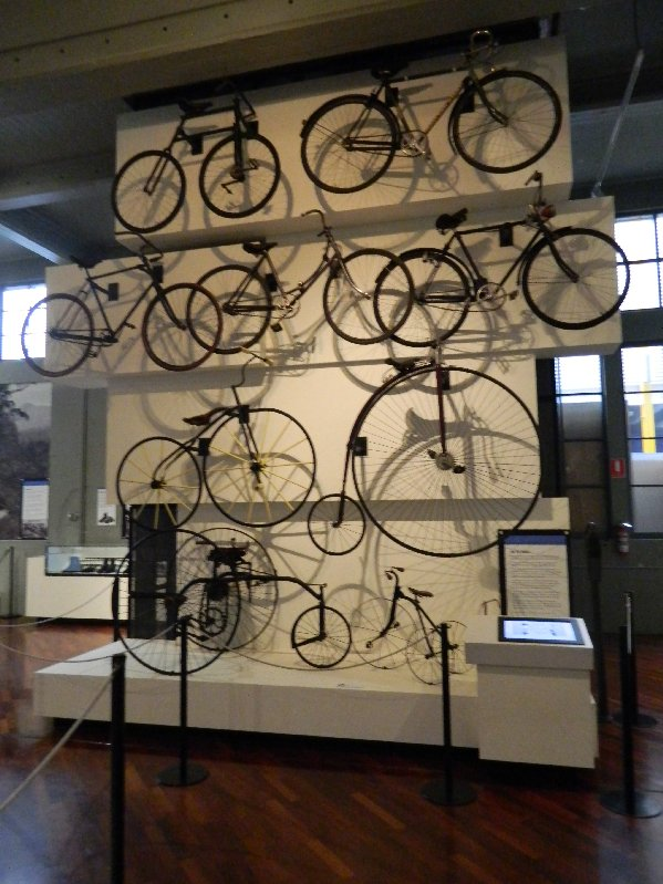 Display of bikes at the Queen Victoria Museum and Art Gallery in Launceston
