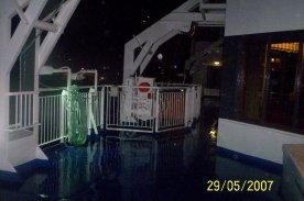Wet night on the ferry