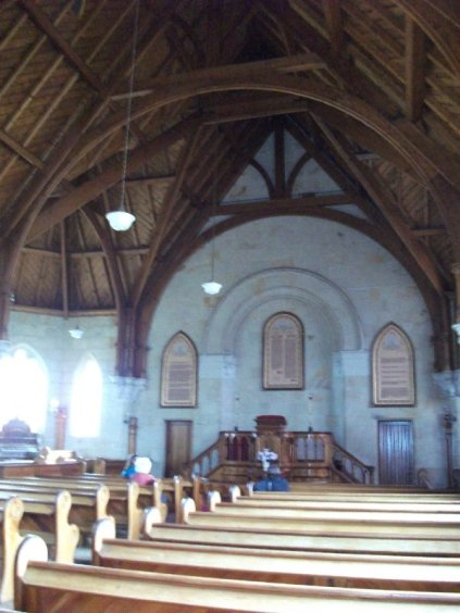 Church interior with fantastic timber roof.