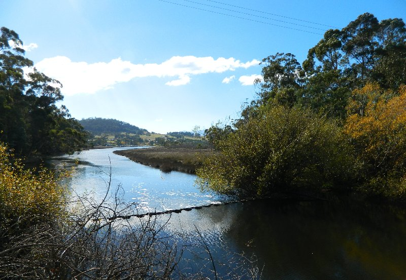 The Kermandie River flows into the Huon at Port Huon.