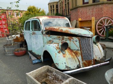 This old car has seen better days.