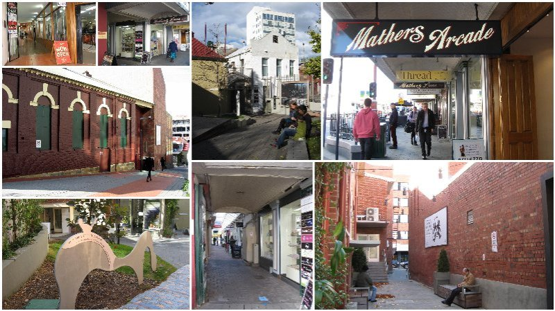 A collage of views of Mathers Lane and Mathers Arcade in Hobart.