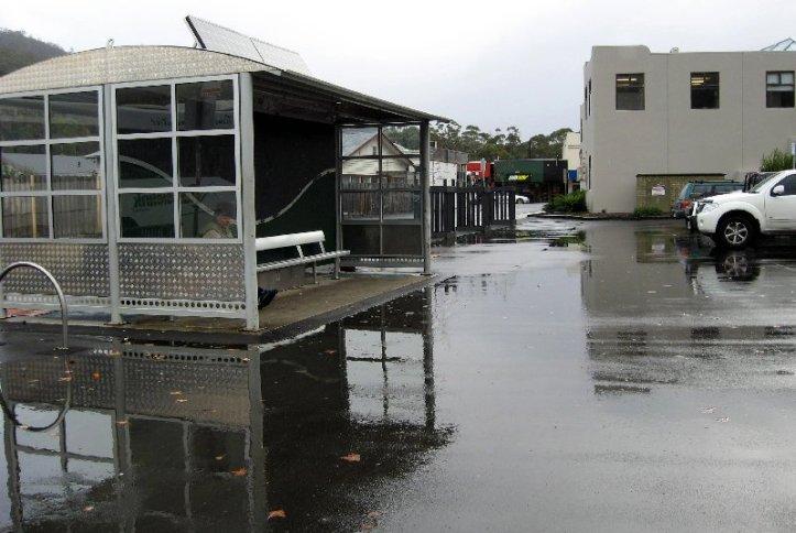 Bus Stop in the rain.