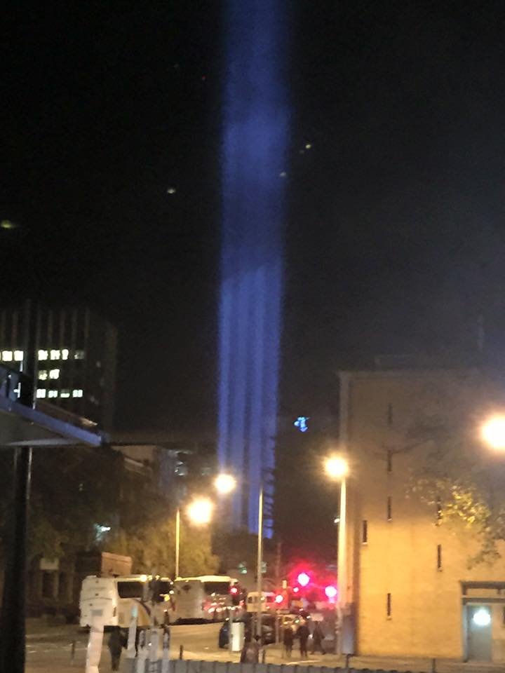 This is one of the lighting installations which looks like it is coming from the old Mercury building-photo by Ally Clark 2015