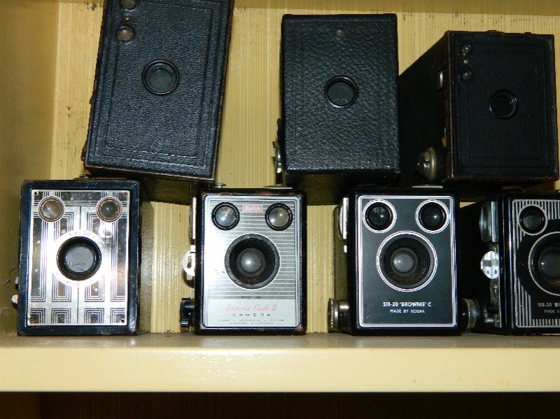 vintage box cameras from my husband's collection.
