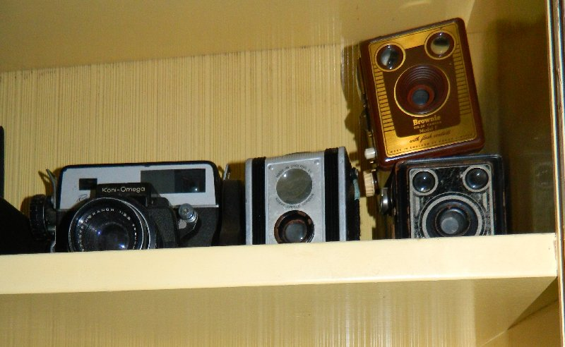 Some of Hubby's camera collection.