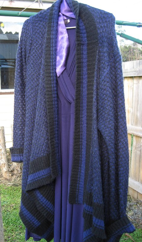 Purple dress and cardigan