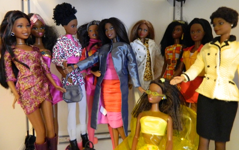 My African American Barbies pose for a group shot.