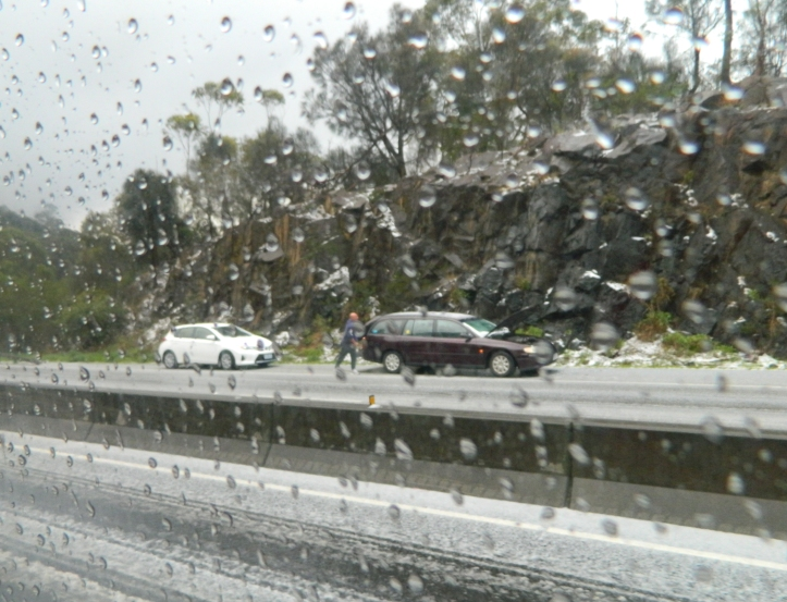 Cars stranded on the side of the road