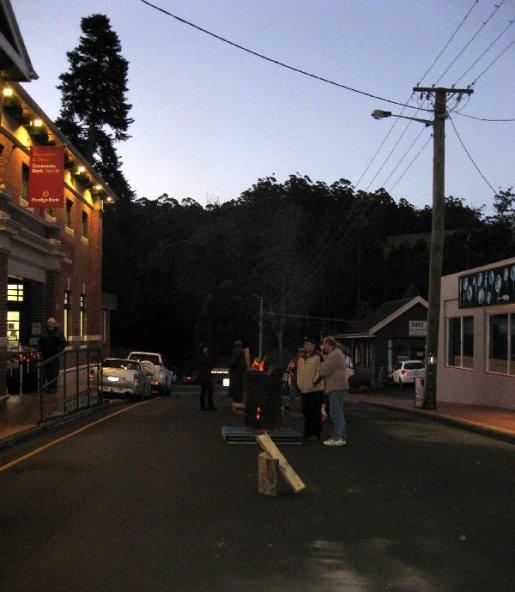 Lower Church Street at dusk.
