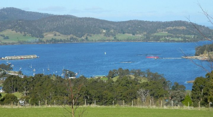 Looking down to Port Huon. You can see one of the fish pens on the left.