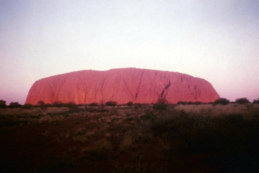 Uluru taken on holiday around the early -mid 1980s. I have cleaned the picture up a bit as there were a few dust spots but the colours are what I saw.