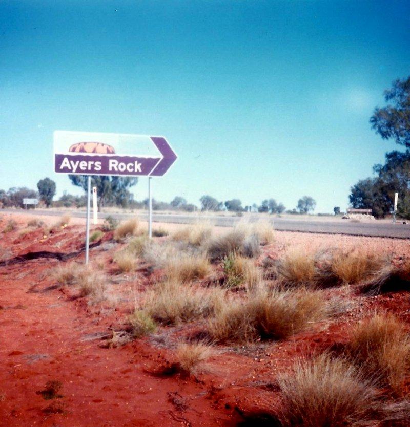 Ayers Rock sign circa 1985