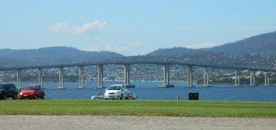 View of the Tasman Bridge from the Domain, Hobart.