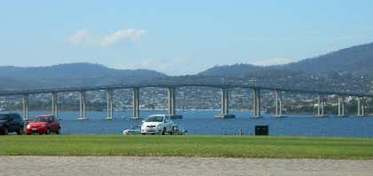 View of the Tasman Bridge from the Domain, Hobart.