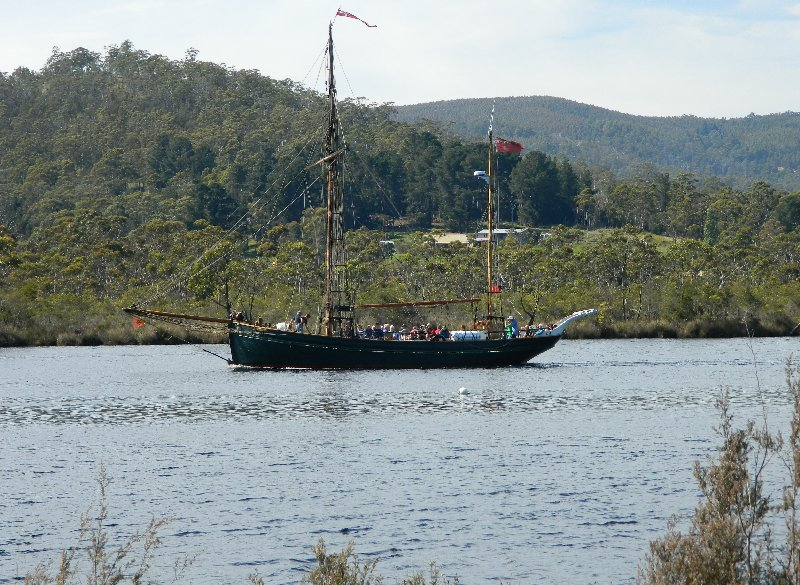 Charter boat Yukon, formerly from Denmark on the Huon at Franklin.
