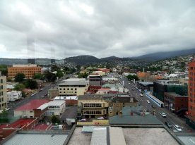 The view from the south bedroom looking towards Mt Wellington.