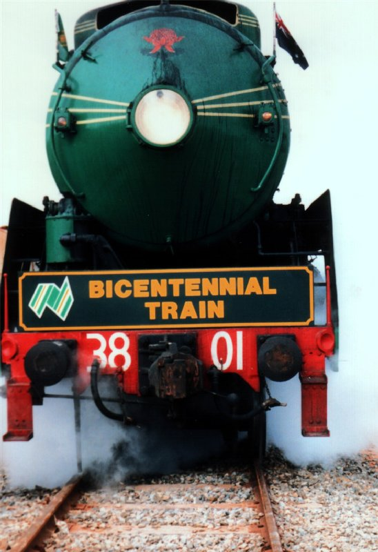 NSW 3801 hauling the Bicentennial Train in 1988.