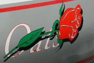 The logo on the hull of the yacht Wild Rose, formerly Wild Oats I