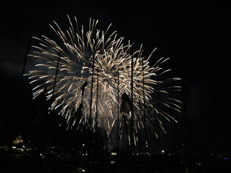 The early fireworks display on the Hobart Waterfront- Photo by Allyson Clark on an iPhone.