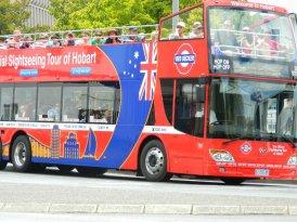 Red Decker tour bus. Hobart