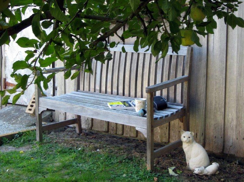 The garden bench.