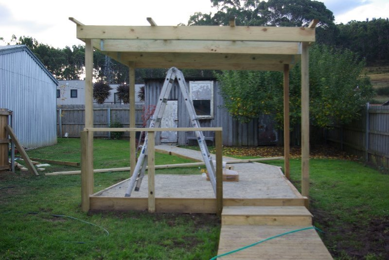 Pergola still under construction.