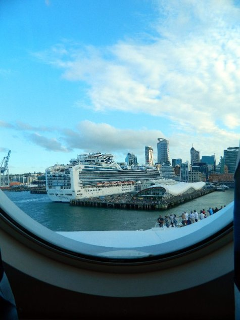 The view from our cabin as we left Auckland.