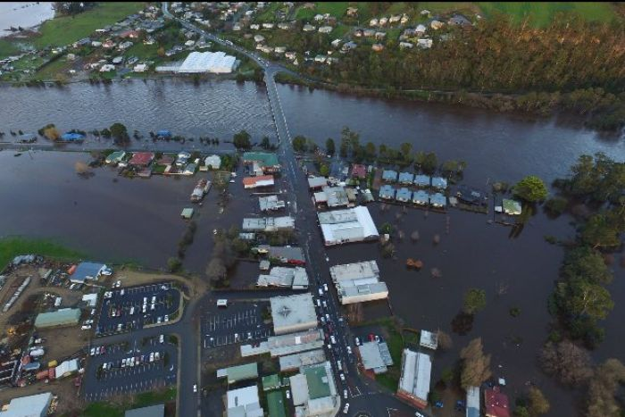 Huon River in flood at Huonville. photo from ABC news.
