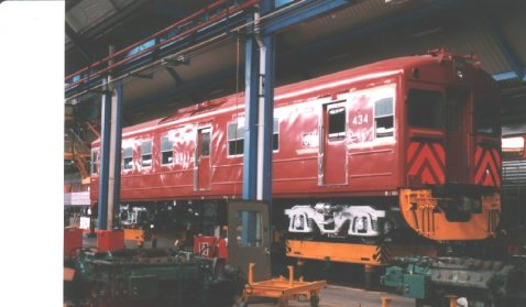 Diesel railcar in the Adelaide Railcar Depot sometime between 1987-98.