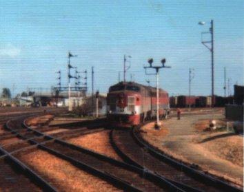 South Australian Railways diesel in the Adelaide rail yard. Photo David Jensen between 1977-81