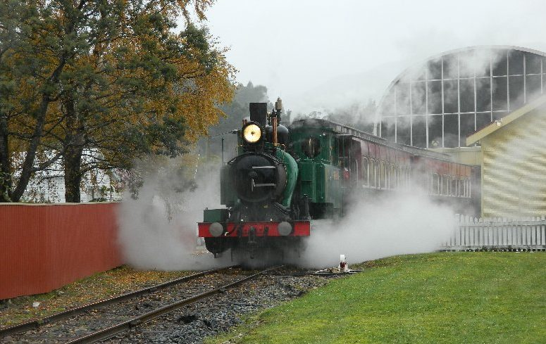 Train departing Queenstown Tasmania, West Coast Wilderness Railway